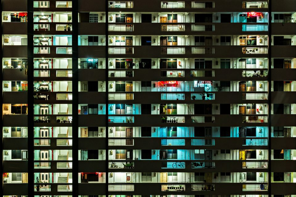 renting an apartment - building at night