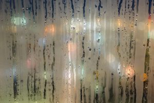 A window with condensation.