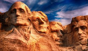 Four of the founding fathers carved into a mountain.