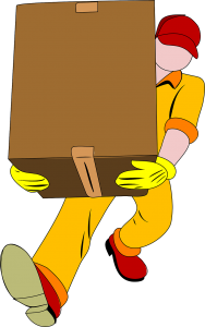 A cartoon drawing of a moving professional carrying a large box.
