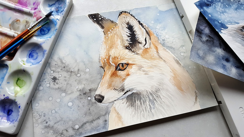 a painting with a fox in the center because it is important to know how to move and store paintings