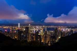 A view of the Hong Kong skyline at night.