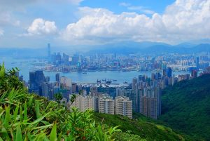 A view of Hong Kong from nearby hills.