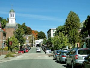 A street with a church in New Hampshire.