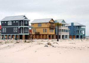 A row of beautiful, colorful beach houses
