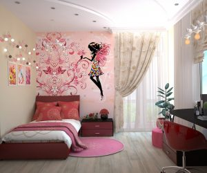 A pink and white girls bedroom you can convert your attic into