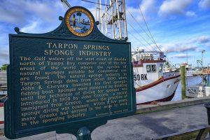 A board on sponge industry in Tarpon Springs, Florida.