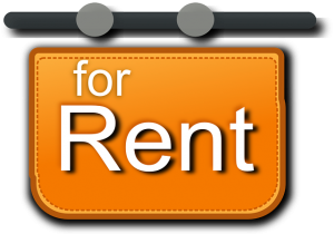 An orange sign for rent.
