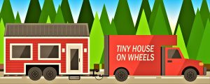 A picture of a tiny house on wheels.