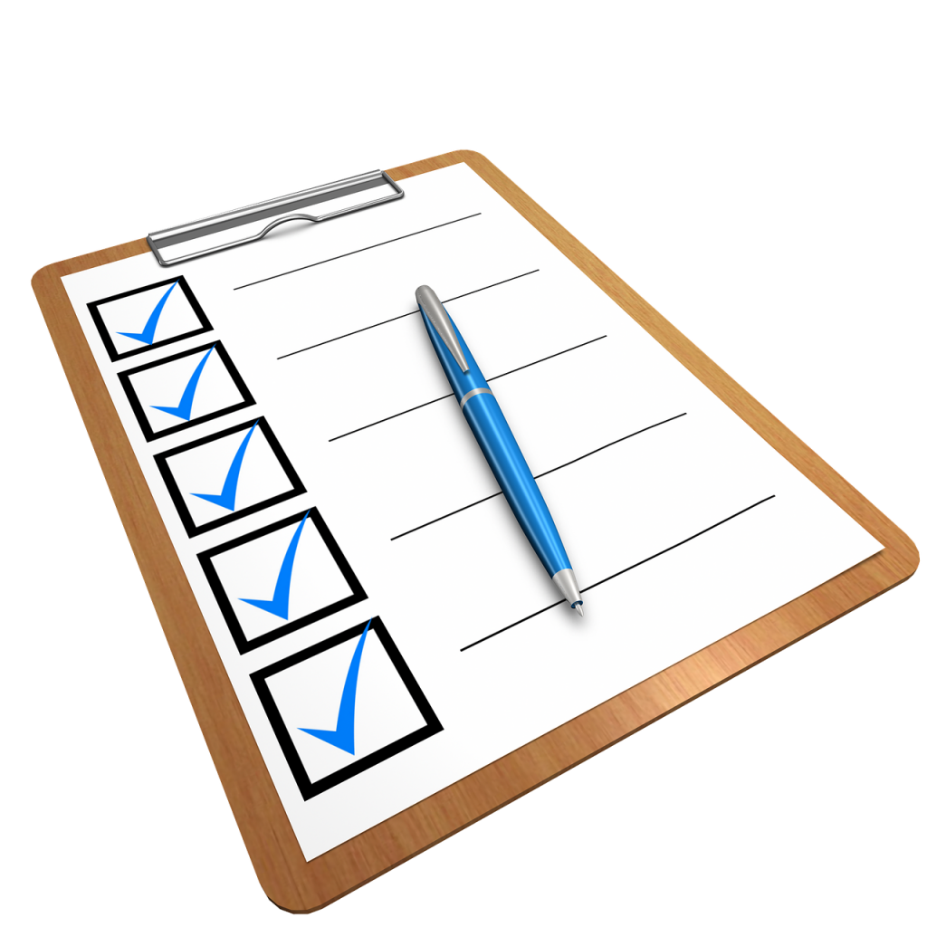A checklist on the clipboard to write down the goods that are around your pool and then move them to keep your swimming pool safe this summer.