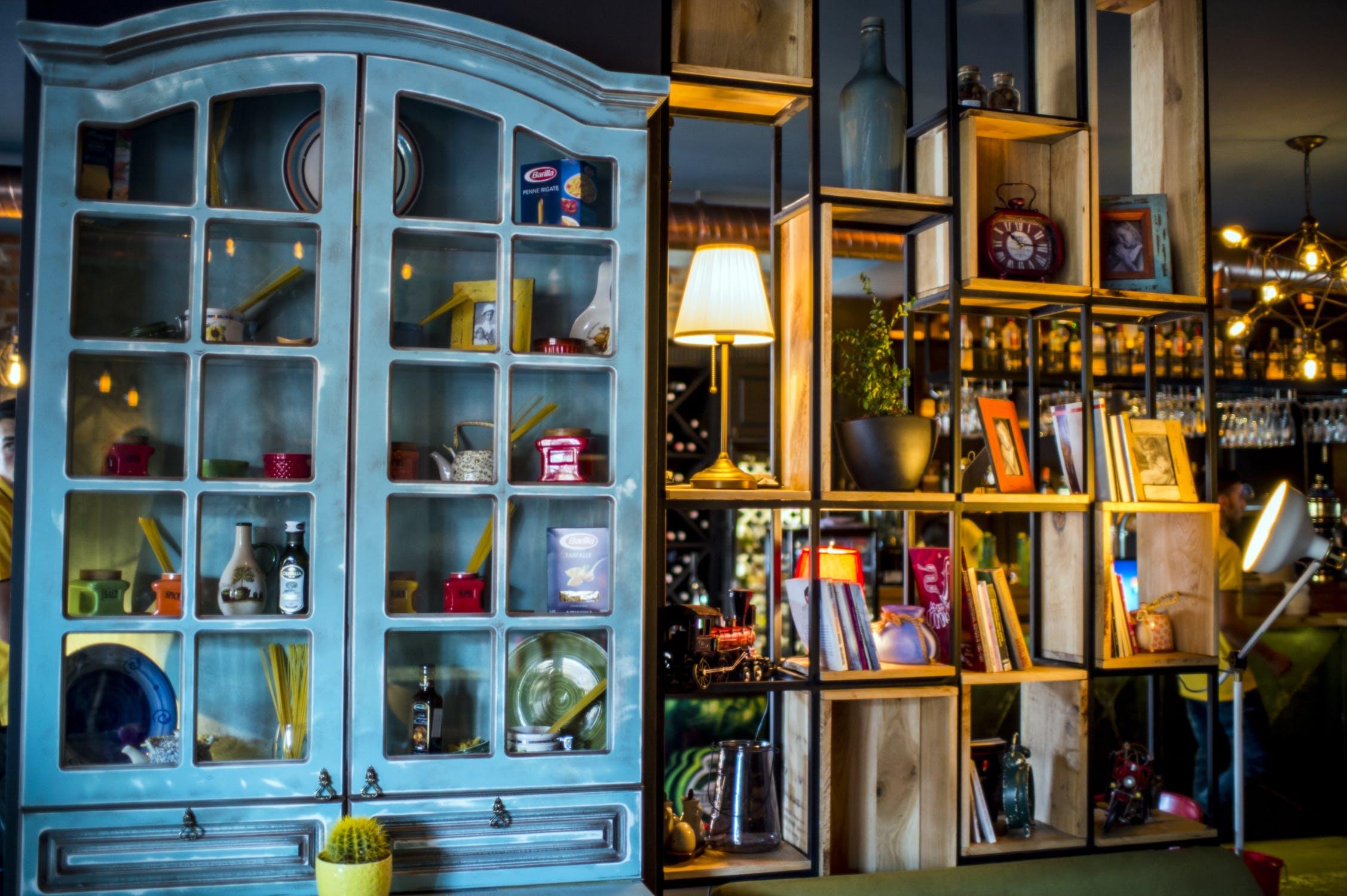 Blue china cabinet