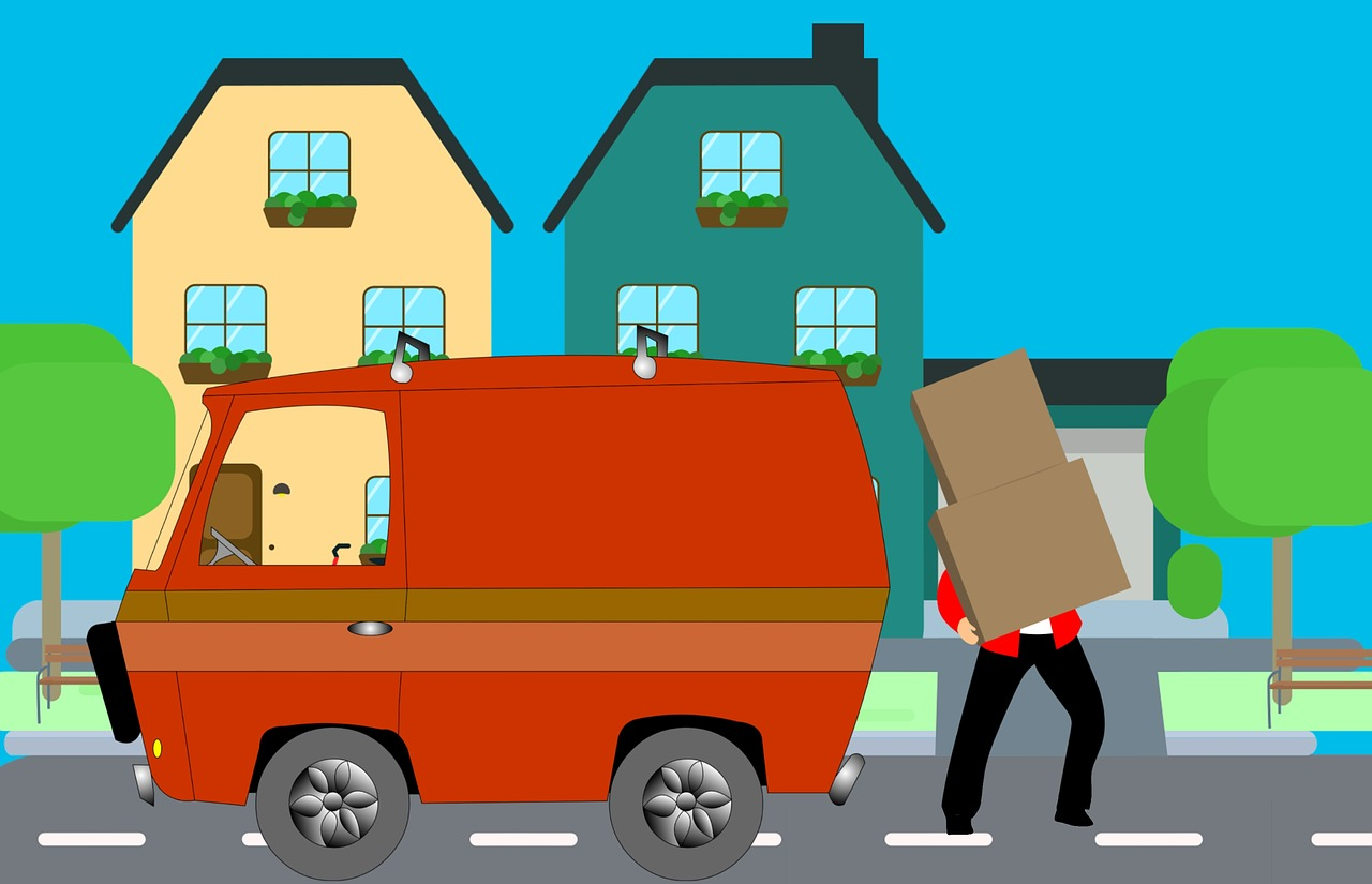 A cartoon image of a person carrying boxes next to a moving van because he's moving from Miami to Virginia