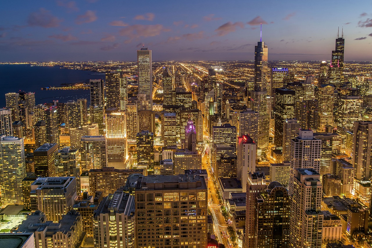 The Chicago cityscape.