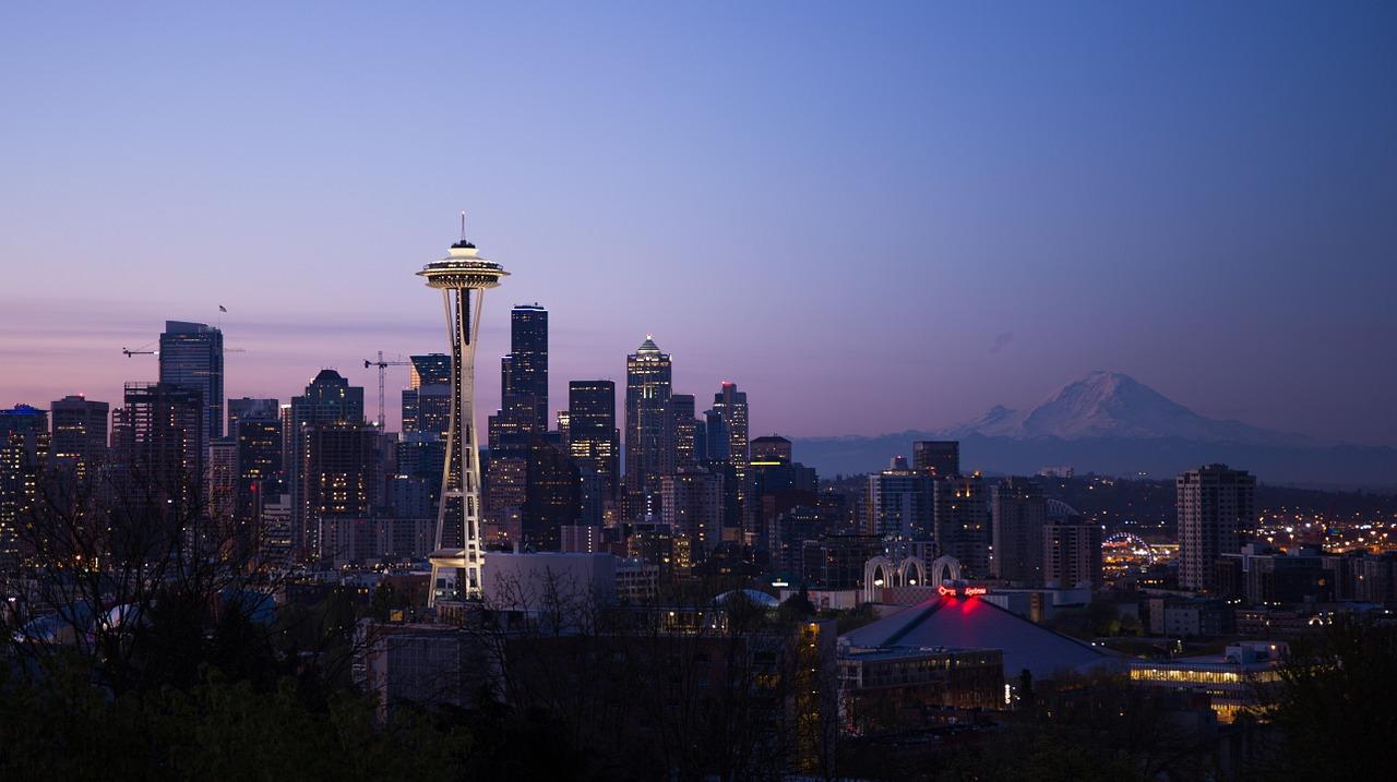The Seattle cityscape.