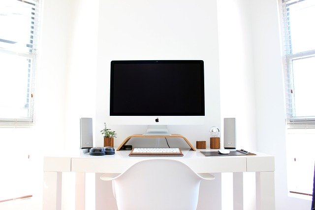 A desk in a modern office.