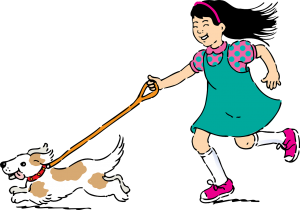 An illustration of a girl walking her dog.