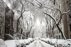 A street covered in snow you will see very often after leaving Miami for NYC