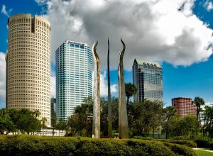 big commercial buildings and a monument in tampa