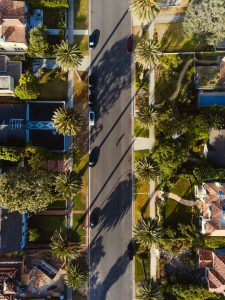 The aerial view of a street in California, one of the best U. S. states for hot weather fans.