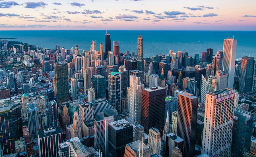 View of Chicago from the sky