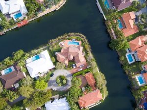 Homes in Miami from above.