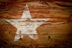 Texas star on a wooden crate