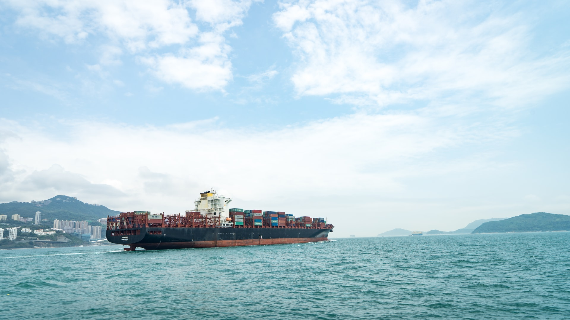 A shipping vessel with cargo