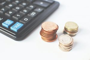 a calculator and pennies